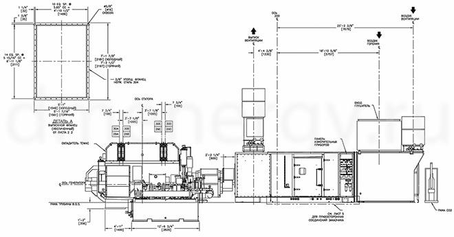 Чертеж газовой турбины GE LM2500: вид сбоку