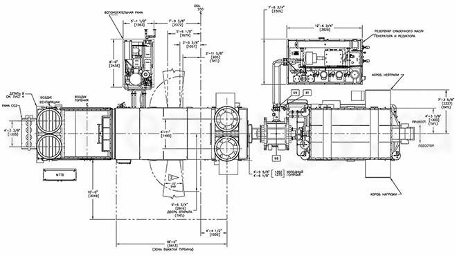 Чертежный план газовой турбины GE LM2500