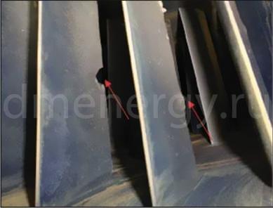 Повреждения выходной кромки лопатки компрессора