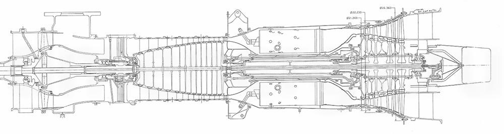 Чертеж Rolls-Royce Allison 501-KB7S
