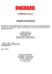 Cертификат происхождения модуля  Allestec