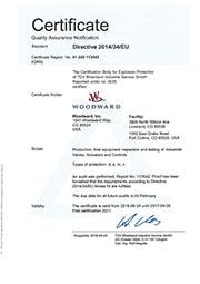 Сертификат соответствия Woodward стандарту 2014/34/EU