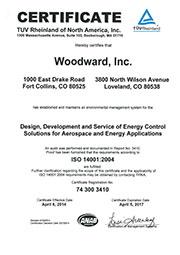 Сертификат соответствия Woodward стандарту 14001:2004